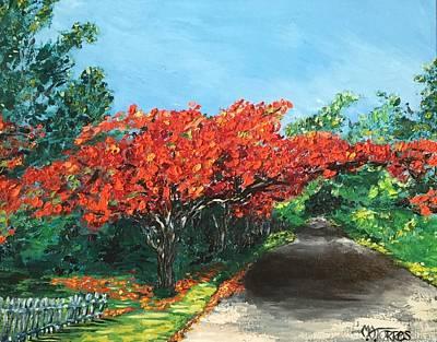 Puerto Rico Painting - El Flamboyan En Mi Camino by Melissa Torres