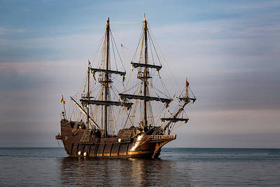 Photograph - El Galeon Andalucia Tall Ship by Dale Kincaid