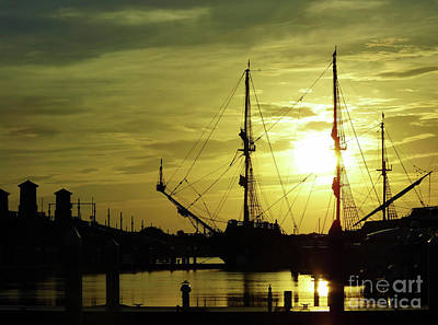 Blue Pirate Ships Landscape Photograph - El Galeon At The Bridge Of Lions Sunrise by D Hackett