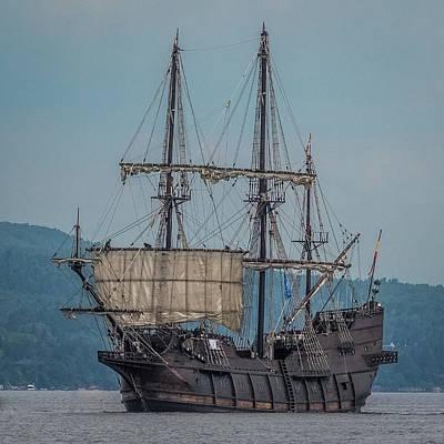 Historic Schooner Photograph - El Galeon Sailing by Paul Freidlund