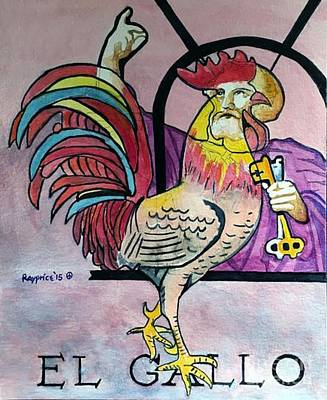 Stained Glass Rooster Painting - El Gallo by Rayning Art