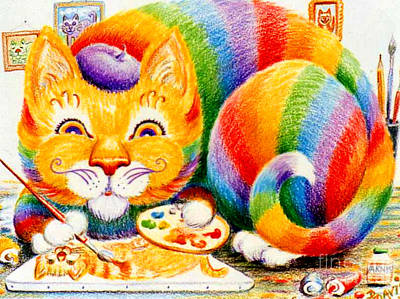 Drawing - el Gato Artisto by Dee Davis