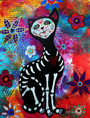 Painting - El Gato II Day Of The Dead by Pristine Cartera Turkus