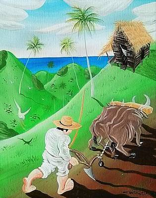 Jibaros Painting - El Jibaro Y El Buey by Jose Guerrido jr