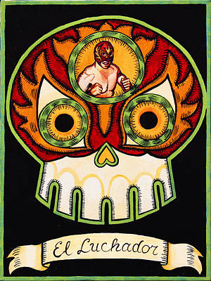 Calavera Painting - El Luchador - The Wrestler by Mix Luera