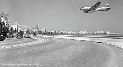 Cuba Mixed Media - El Malecon, La Habana, Cuba, Twa Boeing 307 Stratoliner by Thomas Pollart