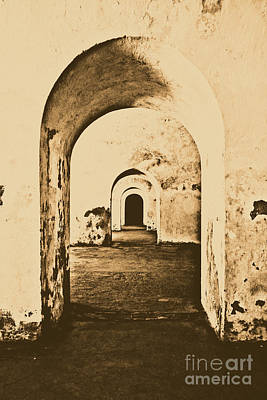 Puerto Rico Digital Art - El Morro Fort Barracks Arched Doorways Vertical San Juan Puerto Rico Prints Rustic by Shawn O'Brien