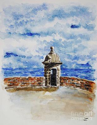 Artists Of Puerto Rico Painting - El Morro. The Castle Of San Felipe Del Morro In San Juan  by Zaira Dzhaubaeva