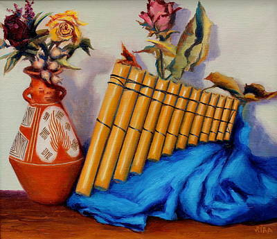 Pan Pipes Painting - El Musico II by Lydia Martin