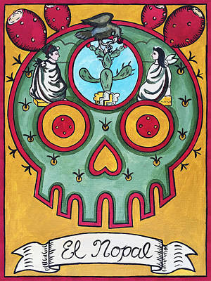 Loteria Painting - El Nopal - The Cactus by Mix Luera