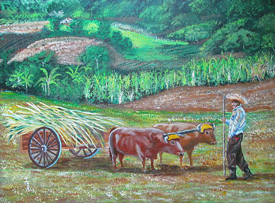 Campesino Painting - El Paraiso Del Campesino by Luis F Rodriguez