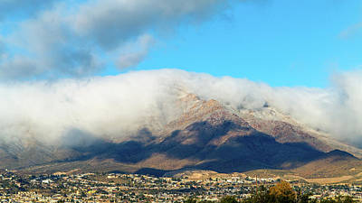 Photograph - El Paso Franklin Mountains And Low Clouds by SR Green