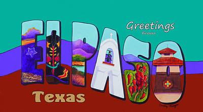 Rio Grande Painting - El Paso Postcard by Candy Mayer