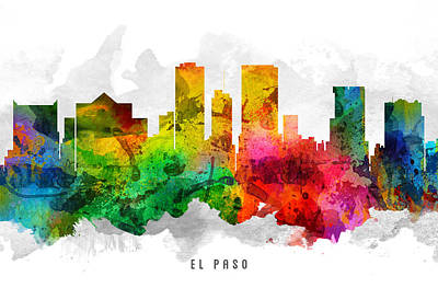 El Paso Painting - El Paso Texas Cityscape 12 by Aged Pixel