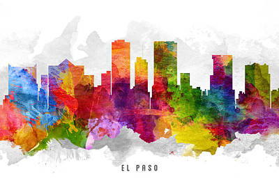 El Paso Painting - El Paso Texas Cityscape 13 by Aged Pixel