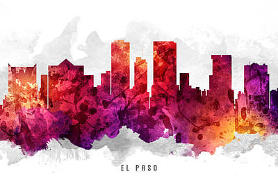 El Paso Painting - El Paso Texas Cityscape 14 by Aged Pixel