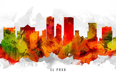 El Paso Painting - El Paso Texas Cityscape 15 by Aged Pixel