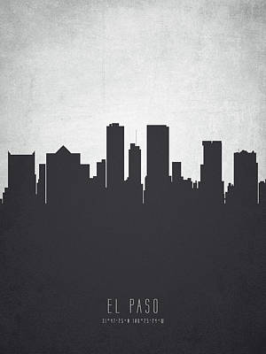 El Paso Painting - El Paso Texas Cityscape 19 by Aged Pixel