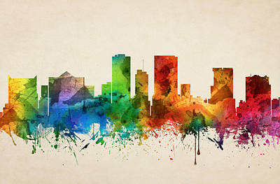 Popstar And Musician Paintings Royalty Free Images - El Paso Texas Skyline 05 Royalty-Free Image by Aged Pixel