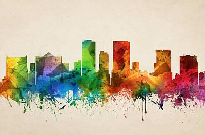 El Paso Painting - El Paso Texas Skyline 05 by Aged Pixel