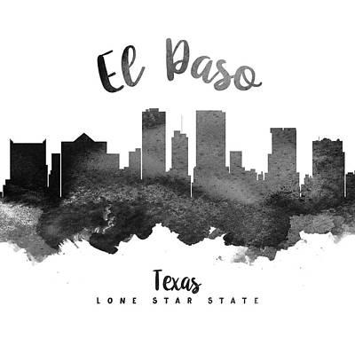 El Paso Painting - El Paso Texas Skyline 18 by Aged Pixel