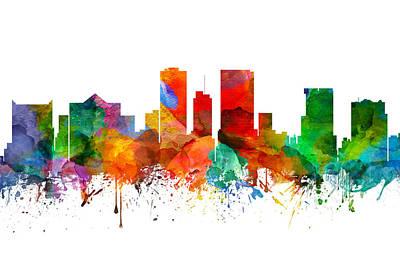 El Paso Painting - El Paso Texas Skyline 21 by Aged Pixel