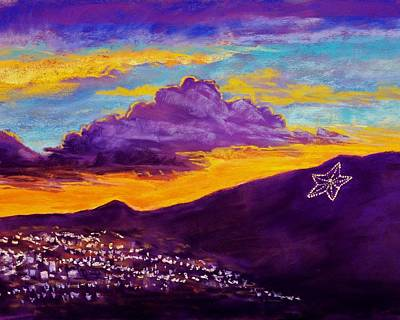 Night Scenes Pastel - El Paso's Star by Candy Mayer