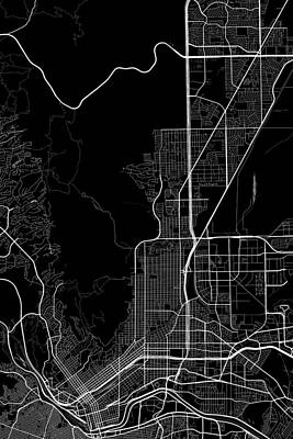 El Paso Digital Art - El Pasotexas Usa Dark Map by Jurq Studio