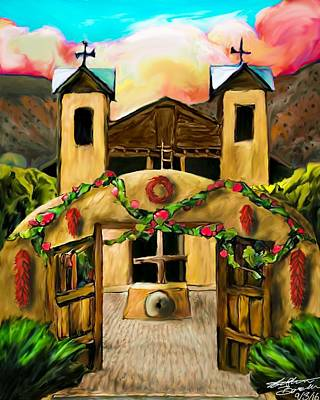 Ristra Digital Art - El Santuario De Chimayo by Stephen Barela