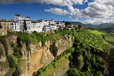 Andalusia Photograph - El Tajo Canyon On The Guadalevin River With White Ronda Building by Reimar Gaertner