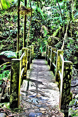 Walkway Digital Art - El Yunque Bridge by Carey Chen
