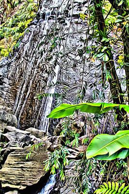 Yunque Digital Art - El Yuque Waterfall by Carey Chen