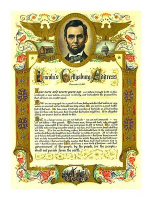 Painting - Elaborate Victorian Gettysburg Address Illuminated Manuscript With Lincoln Portrait by Peter Gumaer Ogden