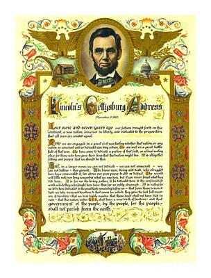 Painting - Elaborate Victorian Gettysburg Address Illuminated Manuscript With Lincoln Portrait by Peter Gumaer Ogden