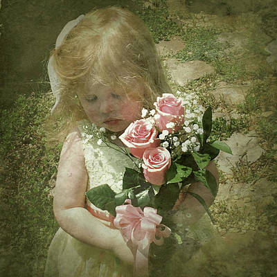Child With Flowers Photograph - Elaina With Flowers by Jim Pearson