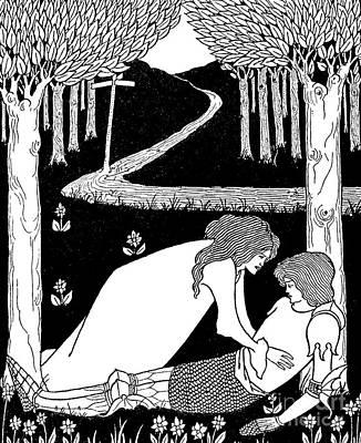 Pathway Drawing - Elaine Finds Lancelot In The Garden by Aubrey Beardsley
