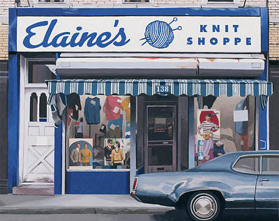 Painting - Elaines Knit Shoppe by Scott Listfield