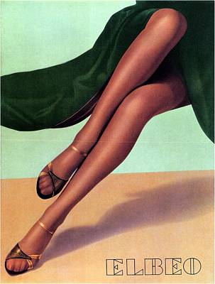 Royalty-Free and Rights-Managed Images - Elbeo Tights and Stockings - High Heels - Vintage Advertising Poster by Studio Grafiikka