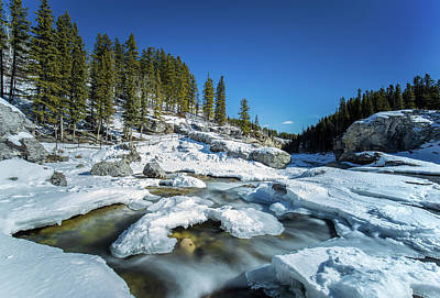 Photograph - Elbow Falls Ice Melt by Celine Pollard