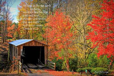 Photograph - Elder Mill Covered Bridge 2 Scripture by Reid Callaway