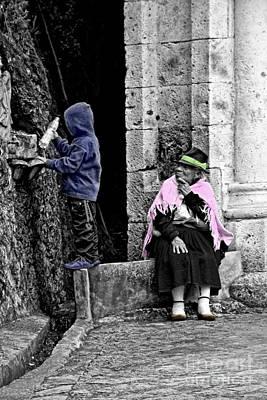 Print featuring the photograph Elderly Beggar In Biblian II by Al Bourassa