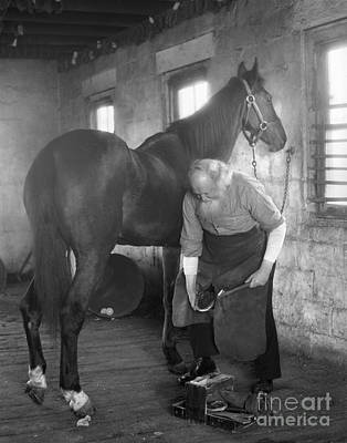 Livery Stable Photograph - Elderly Blacksmith Shoeing Horse by H. Armstrong Roberts/ClassicStock