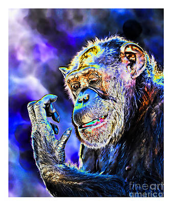 Digital Art - Elderly Chimp Studying Her Hand Altered Version by Jim Fitzpatrick