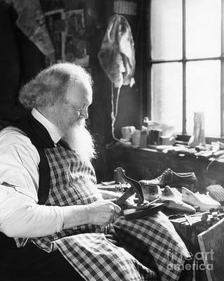 Shoe Repair Photograph - Elderly Cobbler At Work, C.1920-30s by H. Armstrong Roberts/ClassicStock