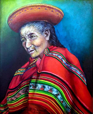 Painting - Elderly Lady by Pedro Huamani