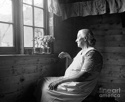 Elderly Woman At Window, C.1950s Art Print