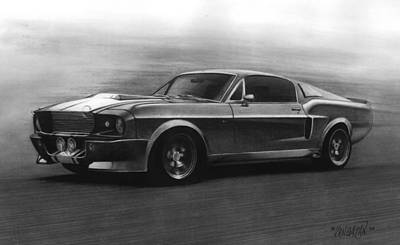 Pencil Drawing - Eleanor  Gt 500 by Tim Dangaran