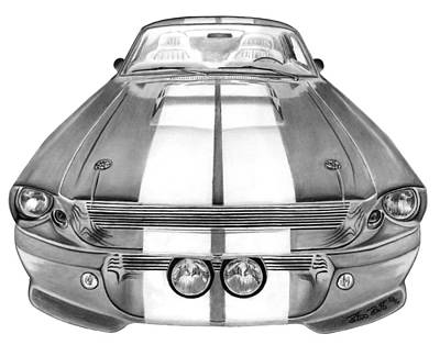 Headlight Drawing - Eleanor Inverted by Peter Piatt