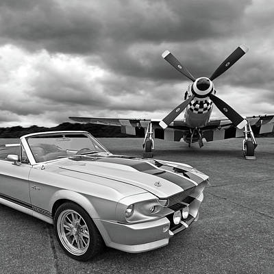 Transportation Photograph - Eleanor Mustang With P51 Black And White by Gill Billington