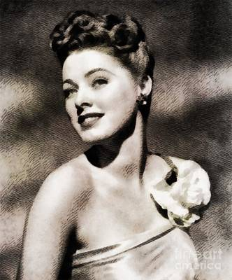 Eleanor Painting - Eleanor Parker, Vintage Actress By John Springfield by John Springfield